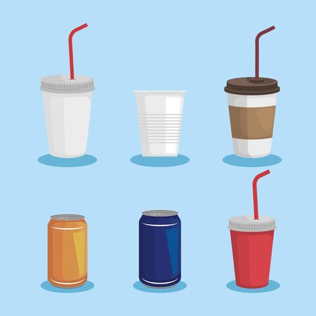 set of toxic plastic cups with cans waste vector illustration
