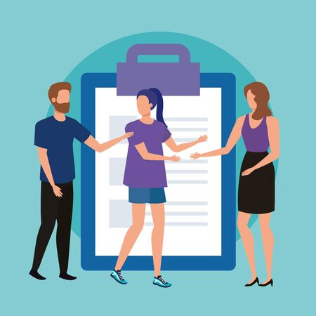 group of people with checklist vector illustration design