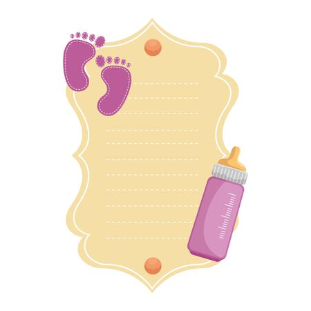 baby shower card with footprints vector illustration design