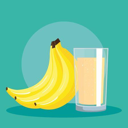 fresh banana fruit and juice nutrition to healthy food vector illustration Çizim