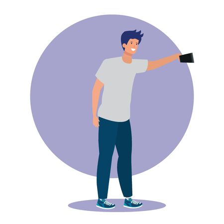 boy with casual clothes and smartphone selfie with casual clothes, vector illustration