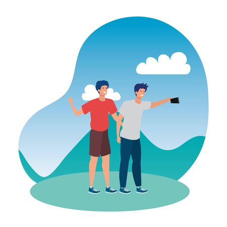 young men friends taking a selfie in the park vector illustration design