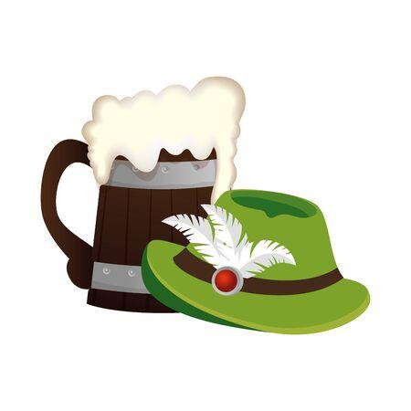 Oktoberfest hat and beer design, Germany festival celebration europe landmark munich culture and party theme Vector illustration Иллюстрация