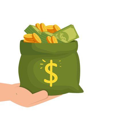 Mano con bolsa de dinero en efectivo icono aislado diseño ilustración vectorial