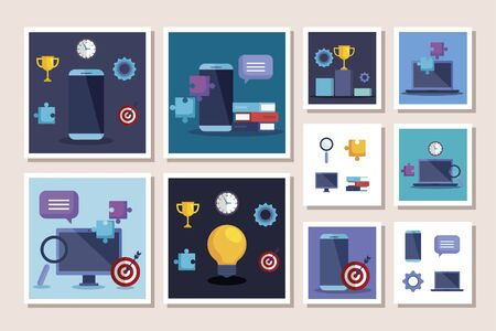 bundle of business set icons vector illustration design Vettoriali