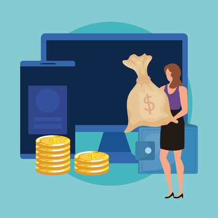 young woman with coins and desktop vector illustration design