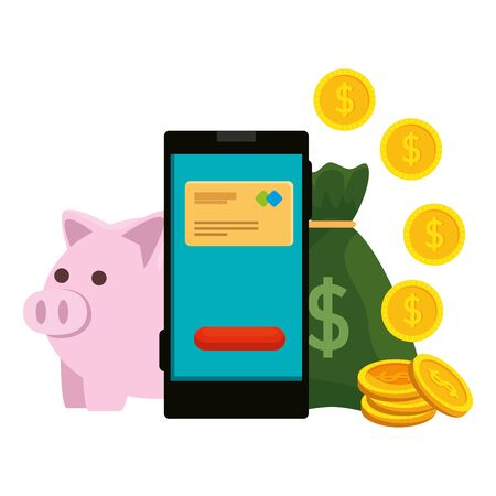 smartphone with credit card and money icons vector illustration design 일러스트