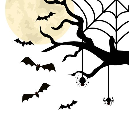 dry tree with bats and spiders vector illustration design