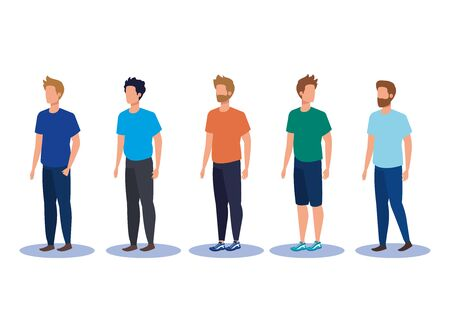 set of fashion men with casual clothes and hairstyle over white background, vector illustration