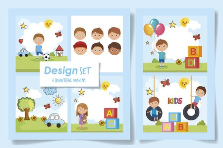 six designs kids with toys in the park vector illustration design