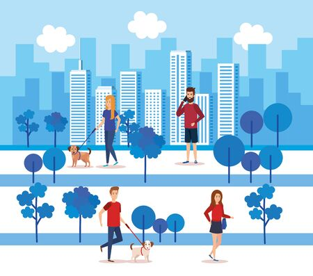 young people in the park characters vector illustration design