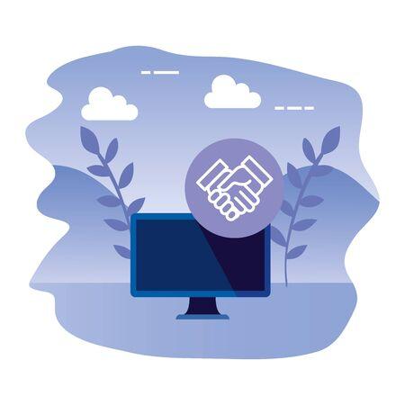desktop computer device with handshake vector illustration design  イラスト・ベクター素材