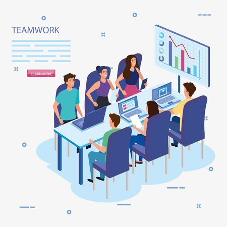 work team group in meeting and infographics vector illustration design Banque d'images - 137180375