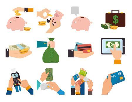Manojo de manos con iconos de negocios, diseño de ilustraciones vectoriales
