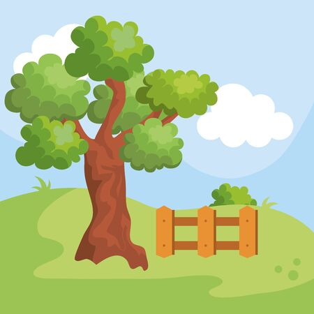nature tree with bushes and wood grillage in the beauty landscape  イラスト・ベクター素材