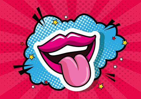 sexy mouth with tongue out with cloud pop art icon vector illustration design