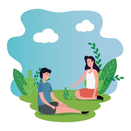 cute lovers couple seated on the park characters vector illustration design Banque d'images - 137185579
