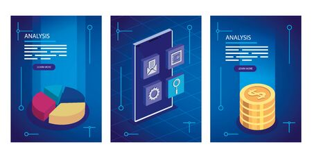 analysis data with decoration icons vector illustration design