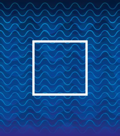 waves background blue color with square frame vector illustration design