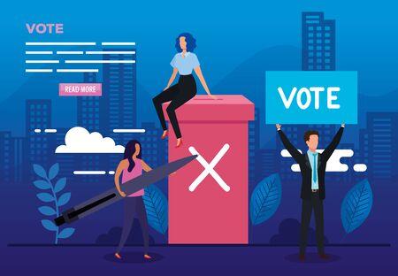 Affiche de vote avec des gens d'affaires et des icônes vector illustration design