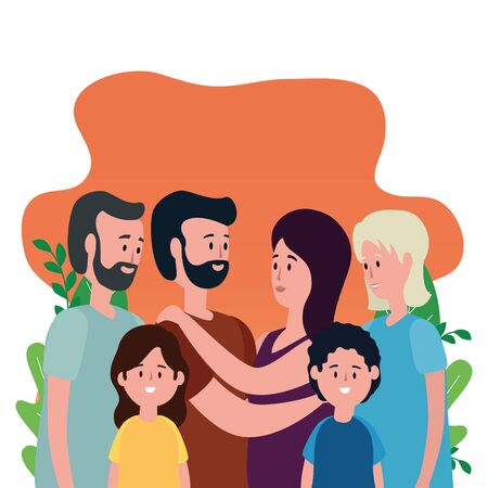 cute grandparents and family characters vector illustration design