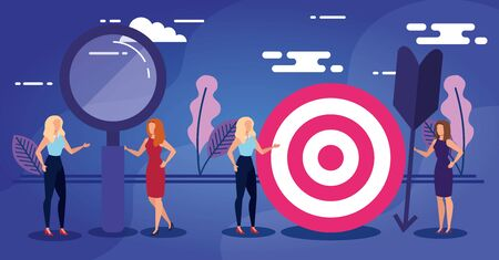 Target lupe and people design, Solution success strategy idea problem innovation and creativity theme Vector illustration