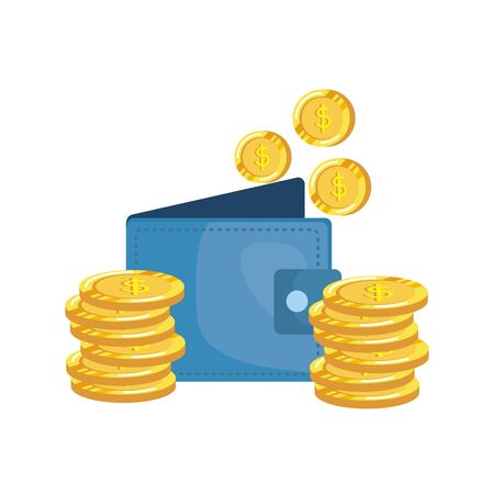 coins money dollars with wallet vector illustration design 向量圖像