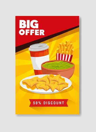 poster big offer of nachos and guacamole with fifty percent discount vector illustration design 向量圖像