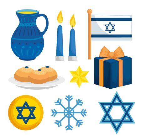set decoration of happy hanukkah vector illustration design