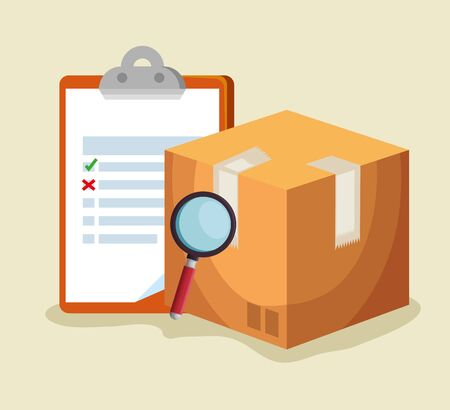 check list with box package and magnifying glass to delivery service vector illustration Ilustración de vector
