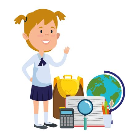 happy student girl with supplies vector illustration design Illustration