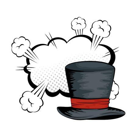 hat top wizard with cloud style pop art vector illustration design Vektorové ilustrace