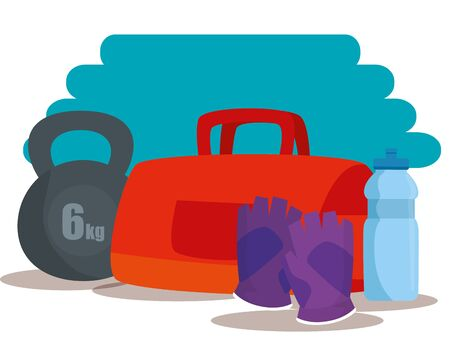 bag with weight and gloves with water bottle to sport activity, vector illustration Illustration