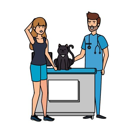 male veterinary doctor with cat and owner vector illustration design Çizim