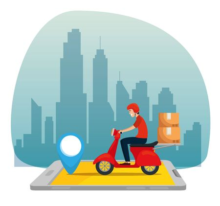 man with motorcycle and boxes packages in the smartphone to delivery service vector illustration Ilustración de vector