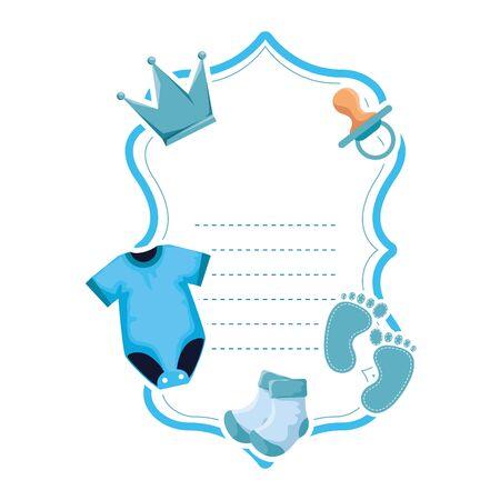 baby shower card frame invitation vector illustration design