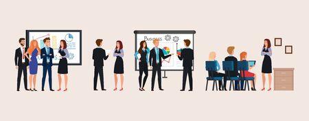set of scenes business people meeting with infographics presentation vector illustration design Illusztráció