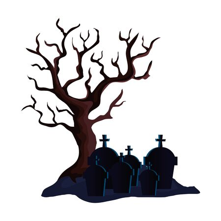 dry tree with cemetery isolated icon vector illustration design 일러스트