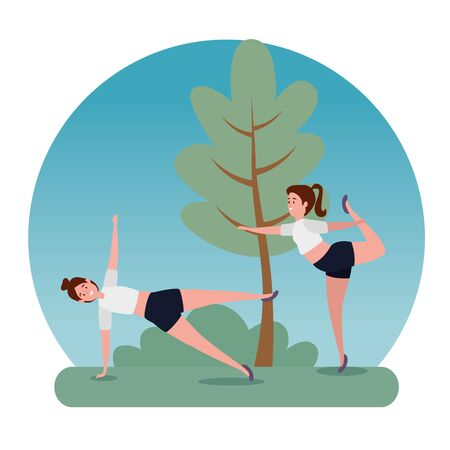 fitness women training yoga pose with tree and bush plant, vector illustration Stock Illustratie