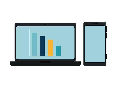 laptop computer with bars statistics and smartphone vector illustration design  イラスト・ベクター素材