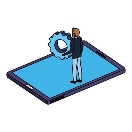 young man lifting gear in smartphone vector illustration design