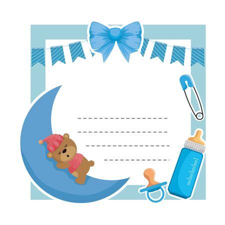 baby shower card with bear sleeping in moon vector illustration design Vektorové ilustrace