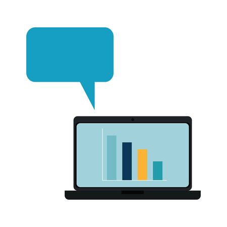 laptop computer with bars statistics and speech bubble vector illustration design  イラスト・ベクター素材