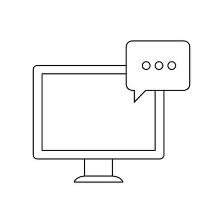 desktop computer with speech bubble vector illustration design