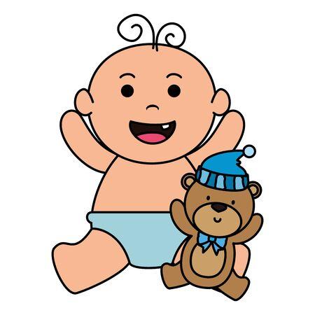 cute little baby boy with bear teddy vector illustration design