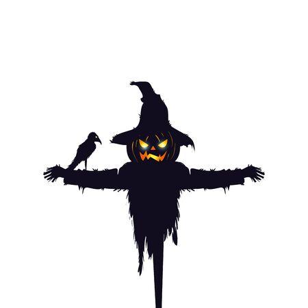 Espantapájaros de halloween con cuervo aislado icono diseño ilustración vectorial