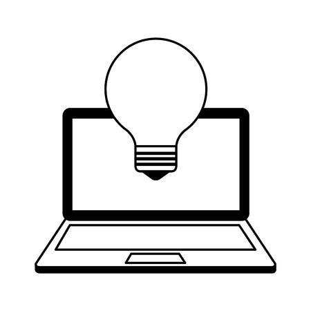 laptop computer with bulb light idea vector illustration design  イラスト・ベクター素材