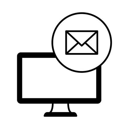 desktop computer device with envelope vector illustration design  イラスト・ベクター素材