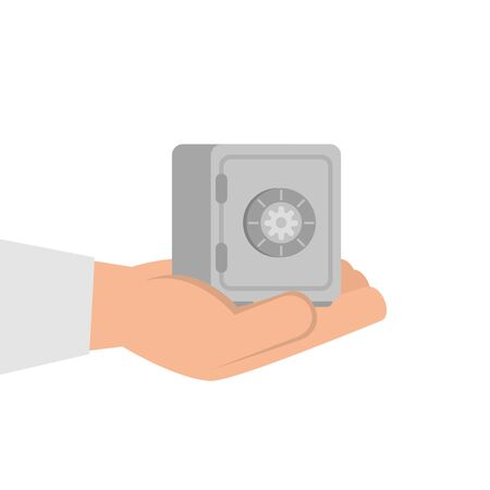 hand with strongbox isolated icon vector illustration design