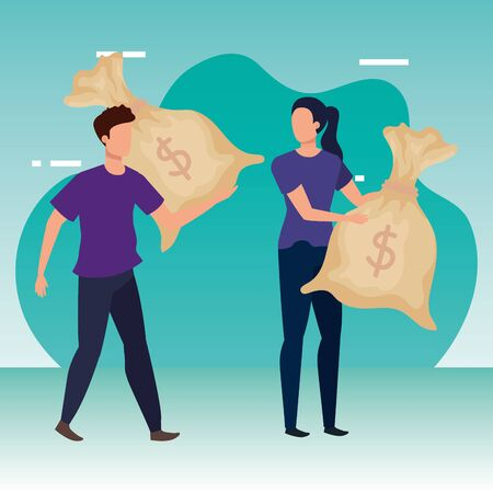 young couple with money bags avatars characters vector illustration design